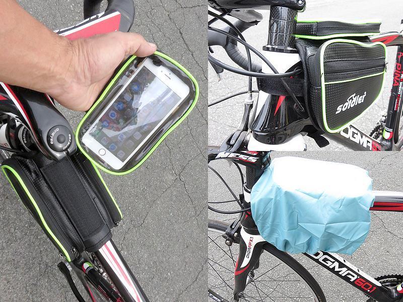 送料無料 自転車用 サイクル バッグ フレームバッグ カーボン調 5.5インチまで対応 スマホケース付 ロードバイク クロスバイク ピスト_画像3