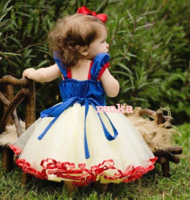 新品 100 90 白雪姫 ドレス ワンピース キッズ コスプレ 衣装 ディズニー プリンセス クリスマス プレゼント ランド 子供 お誕生日