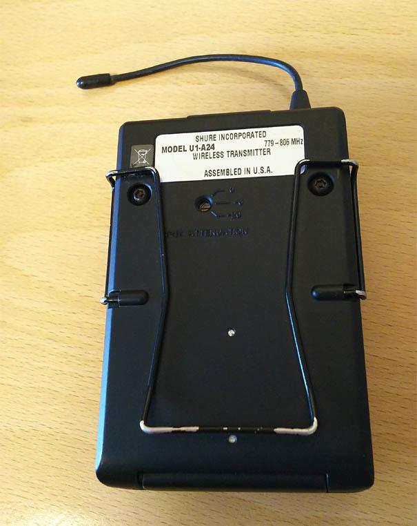 SHURE A帯ワイヤレスマイク  U4D-ABJ A/B帯受信機1台 U1-A24トランスミッター セット 中古品 _画像8