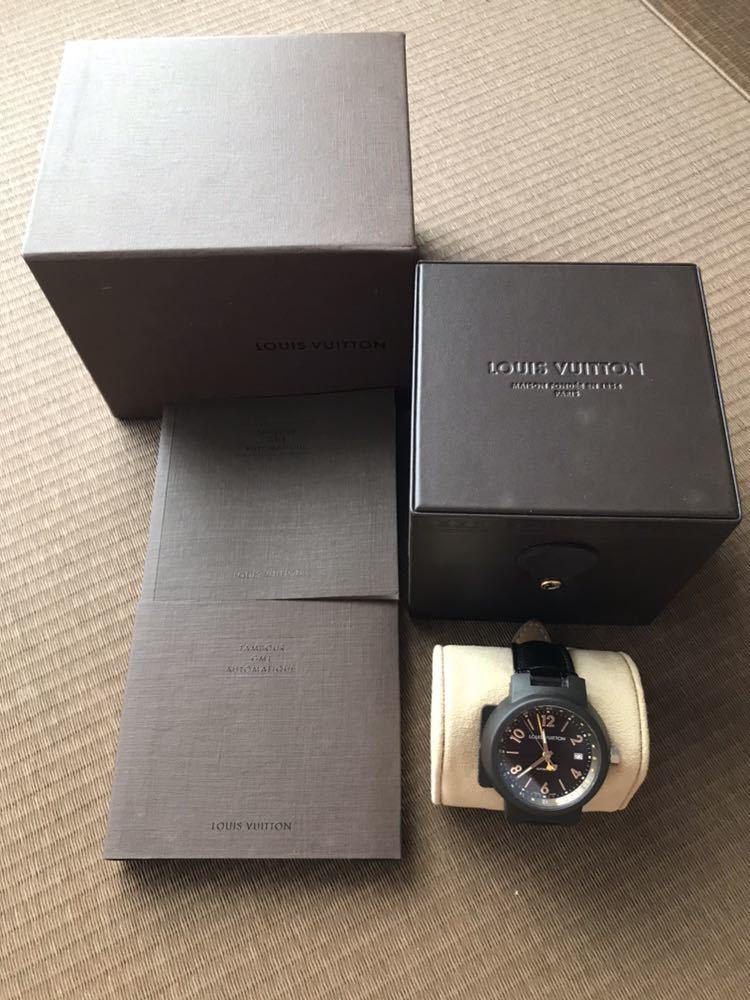 LOUIS VUITTON ルイ・ヴィトン TAMBOUR GMT タンブール オートマチック Q1131 ブラウンダイヤル 自動巻き デイト メンズ 腕時計_画像5