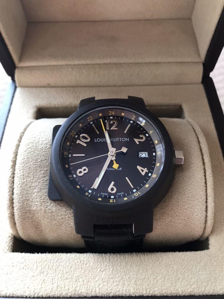 LOUIS VUITTON ルイ・ヴィトン TAMBOUR GMT タンブール オートマチック Q1131 ブラウンダイヤル 自動巻き デイト メンズ 腕時計_画像6