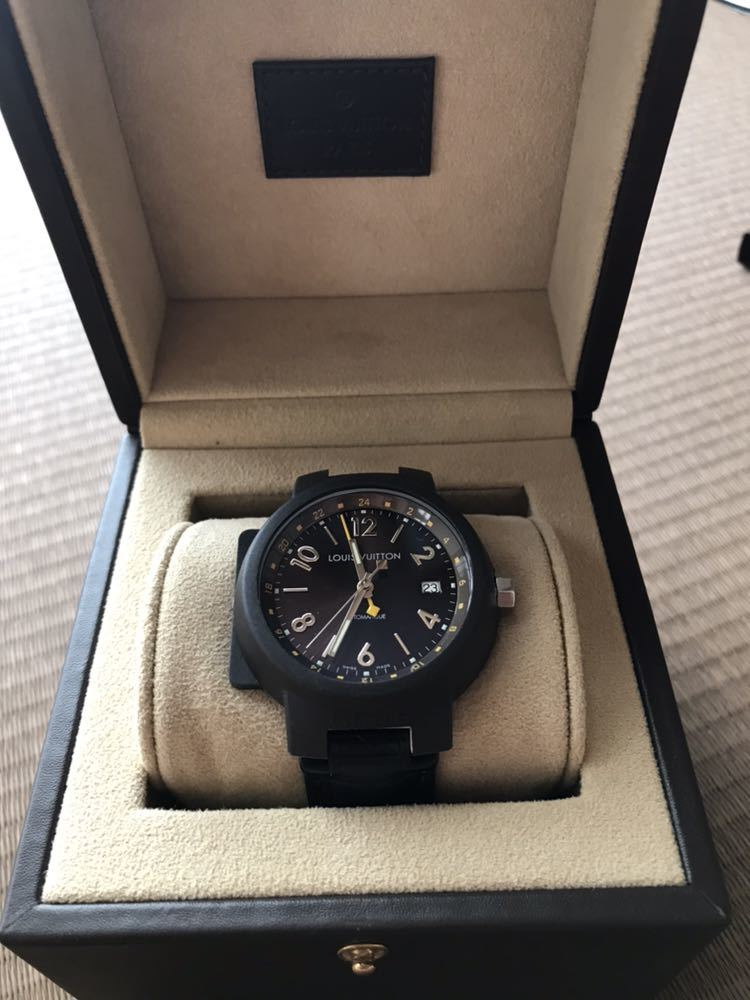 LOUIS VUITTON ルイ・ヴィトン TAMBOUR GMT タンブール オートマチック Q1131 ブラウンダイヤル 自動巻き デイト メンズ 腕時計_画像4