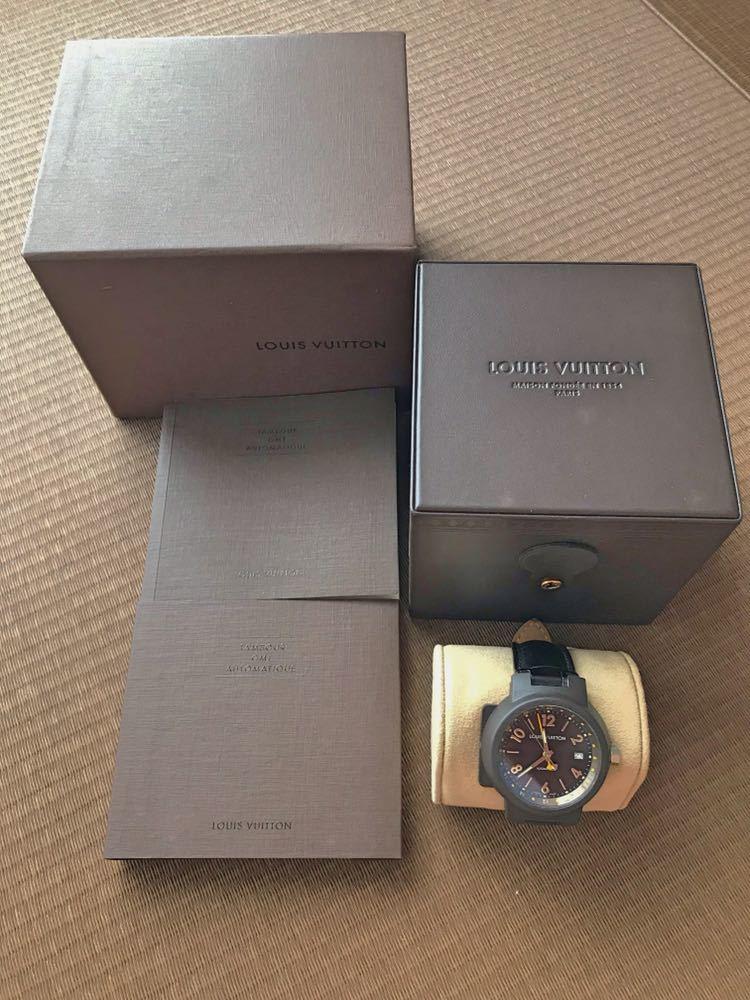 LOUIS VUITTON ルイ・ヴィトン TAMBOUR GMT タンブール オートマチック Q1131 ブラウンダイヤル 自動巻き デイト メンズ 腕時計_画像7