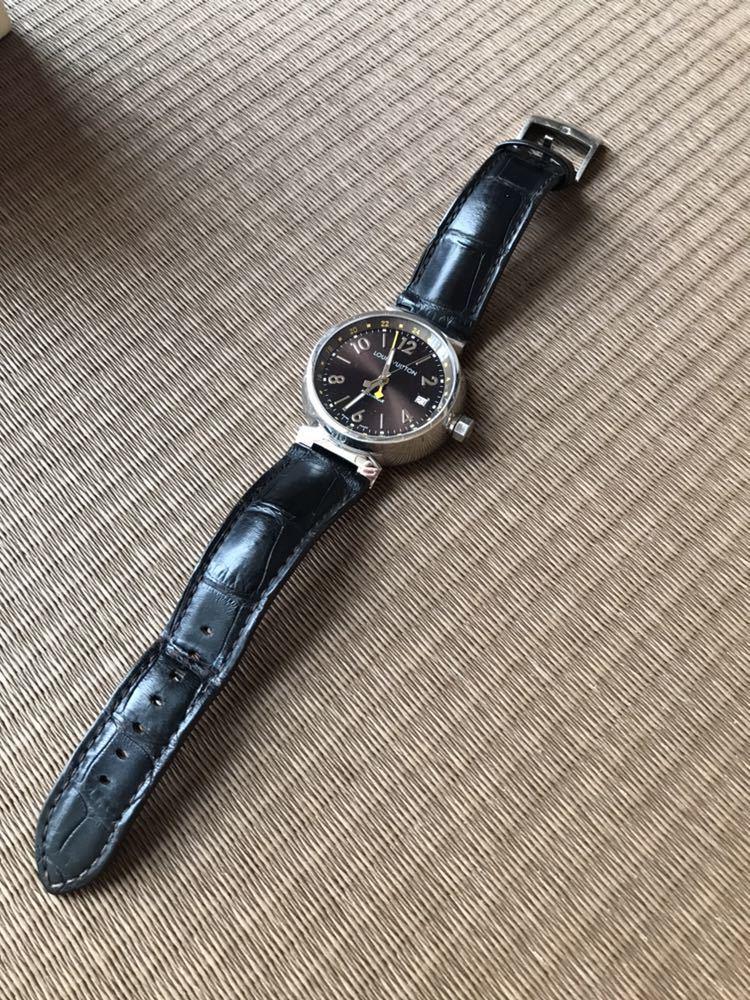 LOUIS VUITTON ルイ・ヴィトン TAMBOUR GMT タンブール オートマチック Q1131 ブラウンダイヤル 自動巻き デイト メンズ 腕時計_画像3