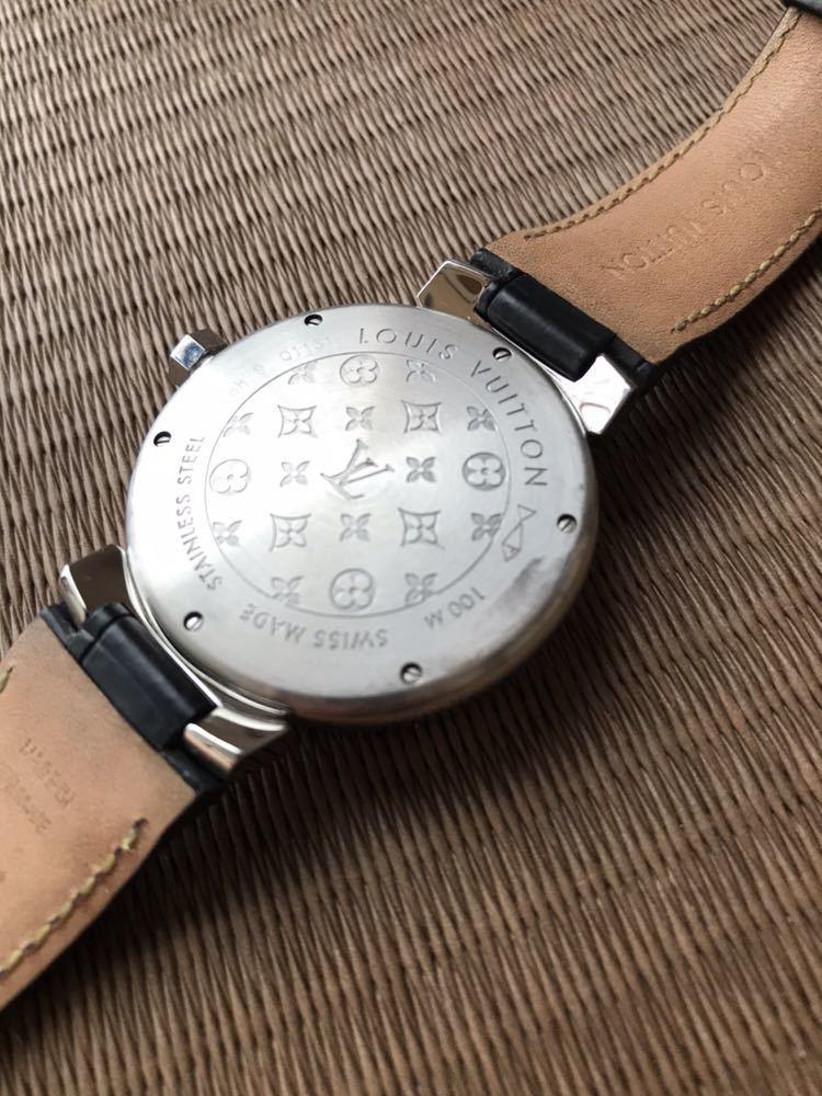 LOUIS VUITTON ルイ・ヴィトン TAMBOUR GMT タンブール オートマチック Q1131 ブラウンダイヤル 自動巻き デイト メンズ 腕時計_画像2