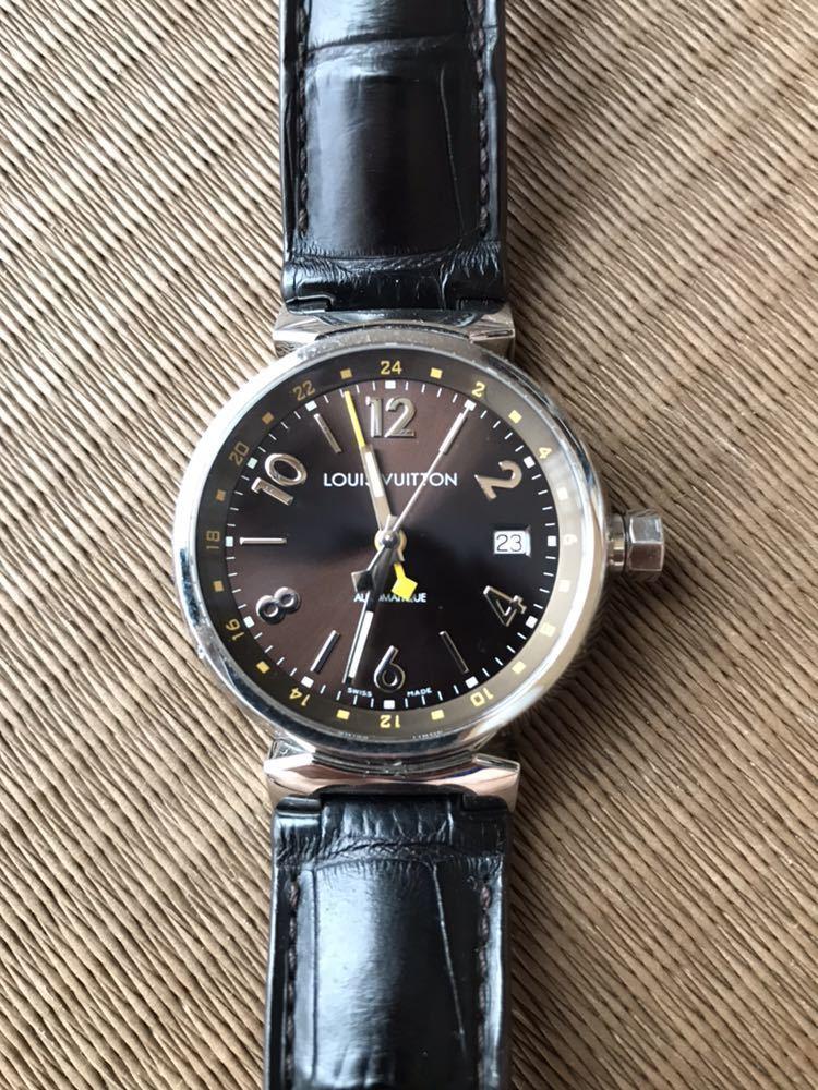 LOUIS VUITTON ルイ・ヴィトン TAMBOUR GMT タンブール オートマチック Q1131 ブラウンダイヤル 自動巻き デイト メンズ 腕時計_画像1