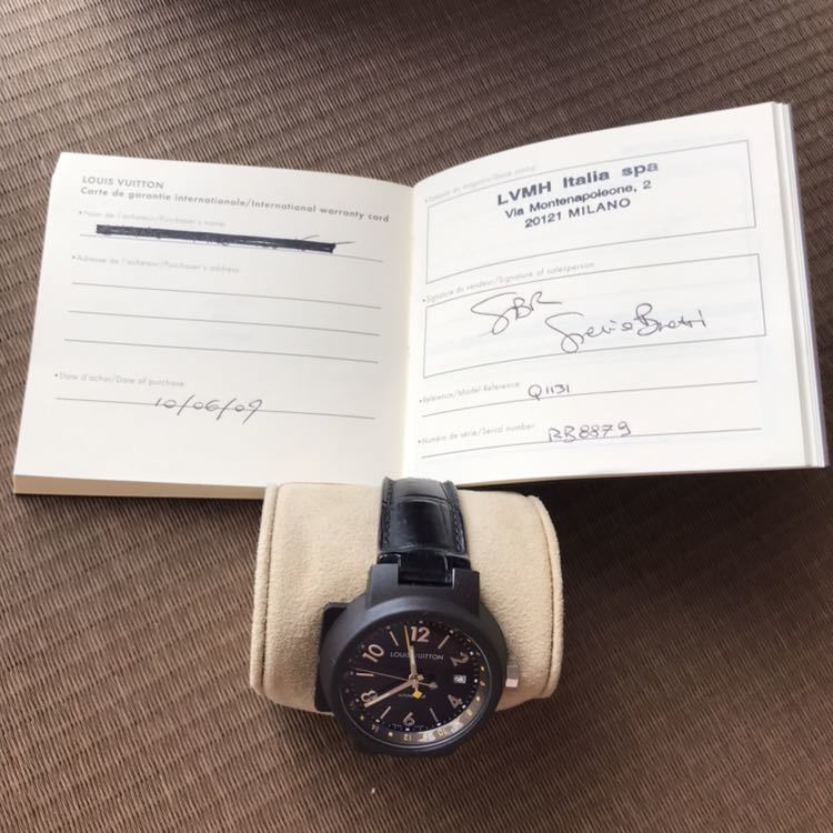 LOUIS VUITTON ルイ・ヴィトン TAMBOUR GMT タンブール オートマチック Q1131 ブラウンダイヤル 自動巻き デイト メンズ 腕時計_画像8