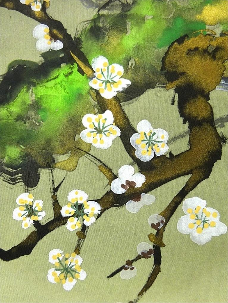 掛軸 香月『梅に鴬』絹本 共箱付 掛け軸 w061711_画像5