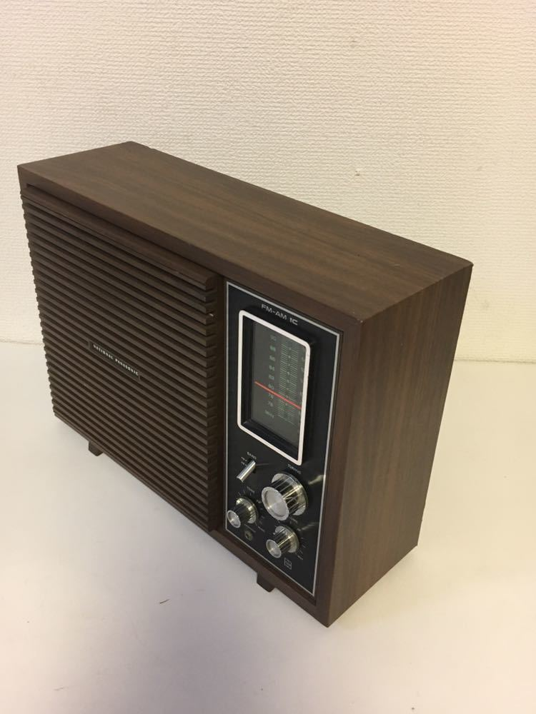 9Jさ09 トランジスタラジオ ナショナル RE-780 木調デザイン 古いラジオ 昔のラジオ National FM AM 昭和レトロ アンティークラジオ_画像3