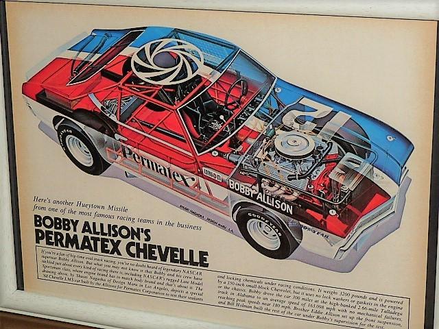"""1974年 U.S.A. '70s 洋書雑誌記事 額装品 Bobby Allison's """"PERMATEX CHEVELLE"""" // 検索用 NASCAR シェベル 長岡秀星(A4サイズ)_画像2"""