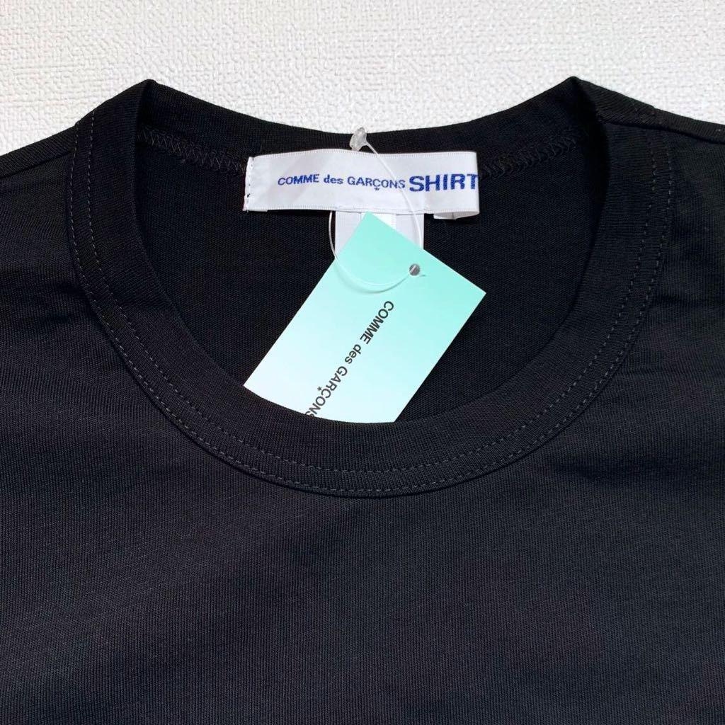 新作 2019AW コムデギャルソンシャツ 裾 ロゴ 半袖 Tシャツ M 黒 ブラック Comme des Garcons Shirt W27111 メンズ 新品 2019FW_画像3