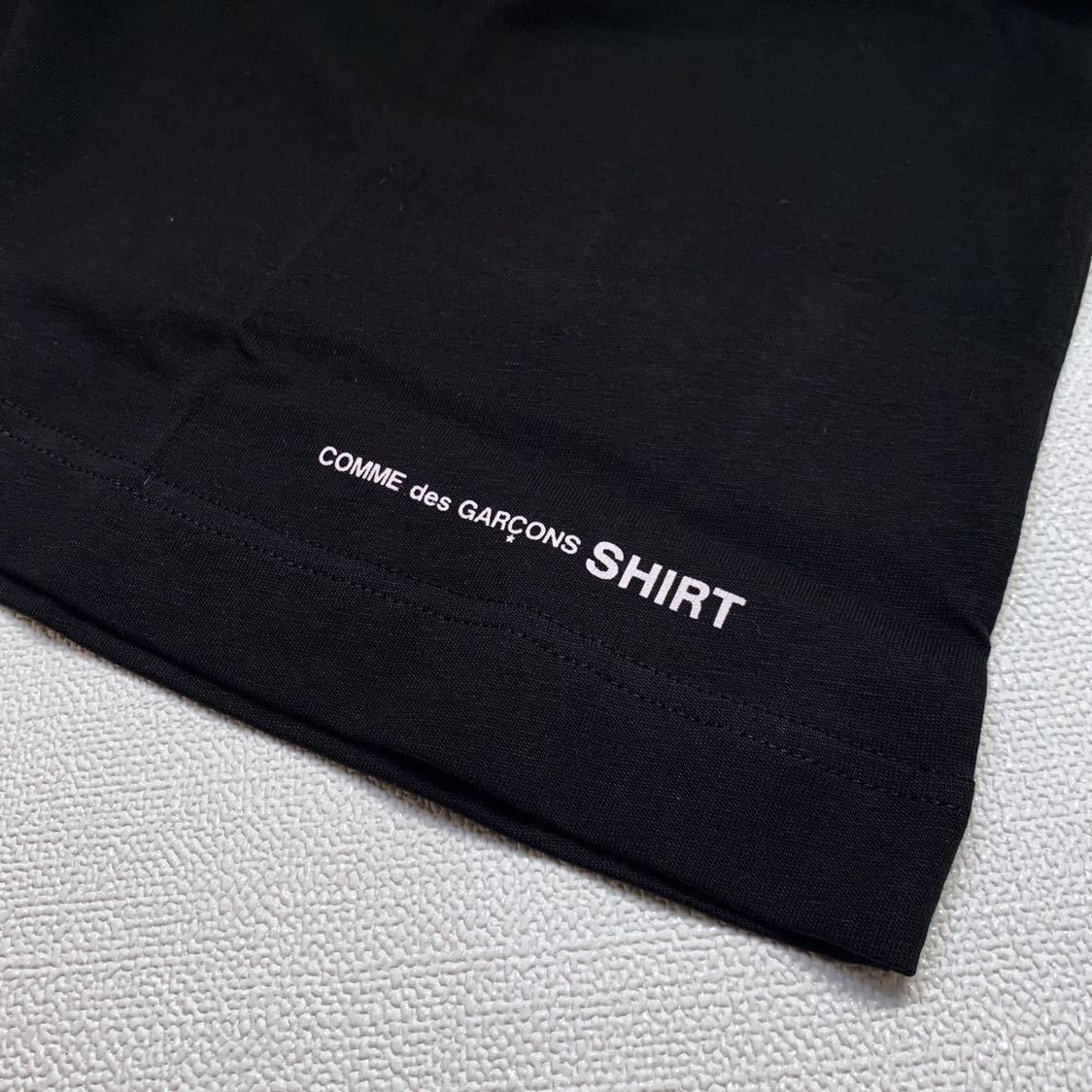 新作 2019AW コムデギャルソンシャツ 裾 ロゴ 半袖 Tシャツ M 黒 ブラック Comme des Garcons Shirt W27111 メンズ 新品 2019FW_画像4