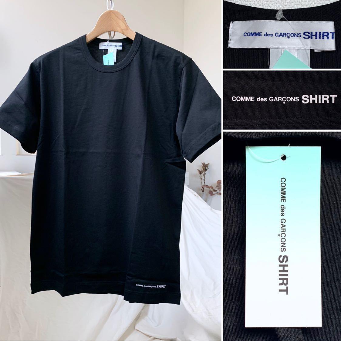 新作 2019AW コムデギャルソンシャツ 裾 ロゴ 半袖 Tシャツ M 黒 ブラック Comme des Garcons Shirt W27111 メンズ 新品 2019FW