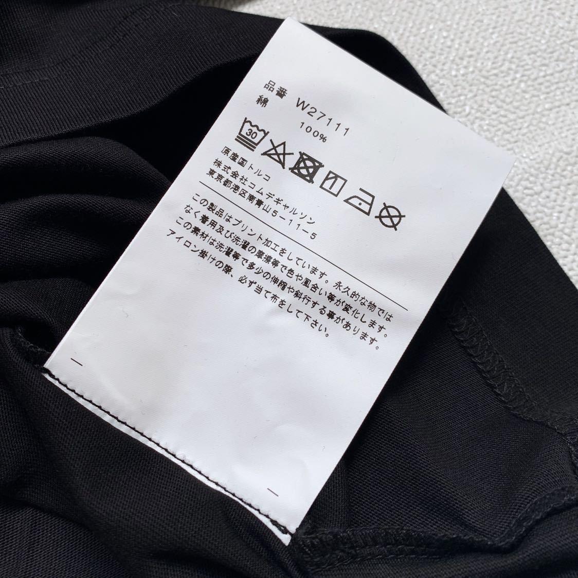 新作 2019AW コムデギャルソンシャツ 裾 ロゴ 半袖 Tシャツ M 黒 ブラック Comme des Garcons Shirt W27111 メンズ 新品 2019FW_画像6