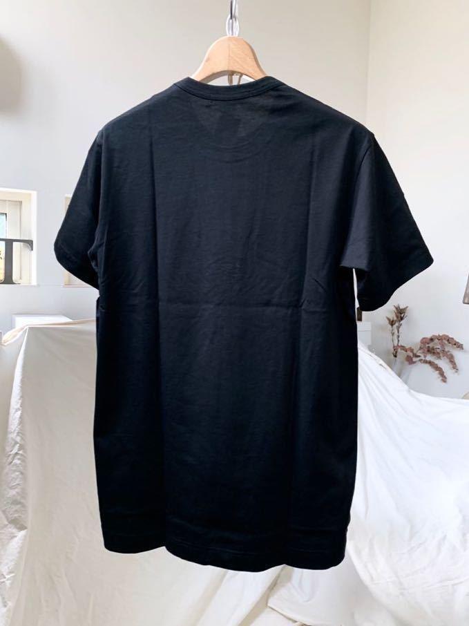 新作 2019AW コムデギャルソンシャツ 裾 ロゴ 半袖 Tシャツ M 黒 ブラック Comme des Garcons Shirt W27111 メンズ 新品 2019FW_画像2