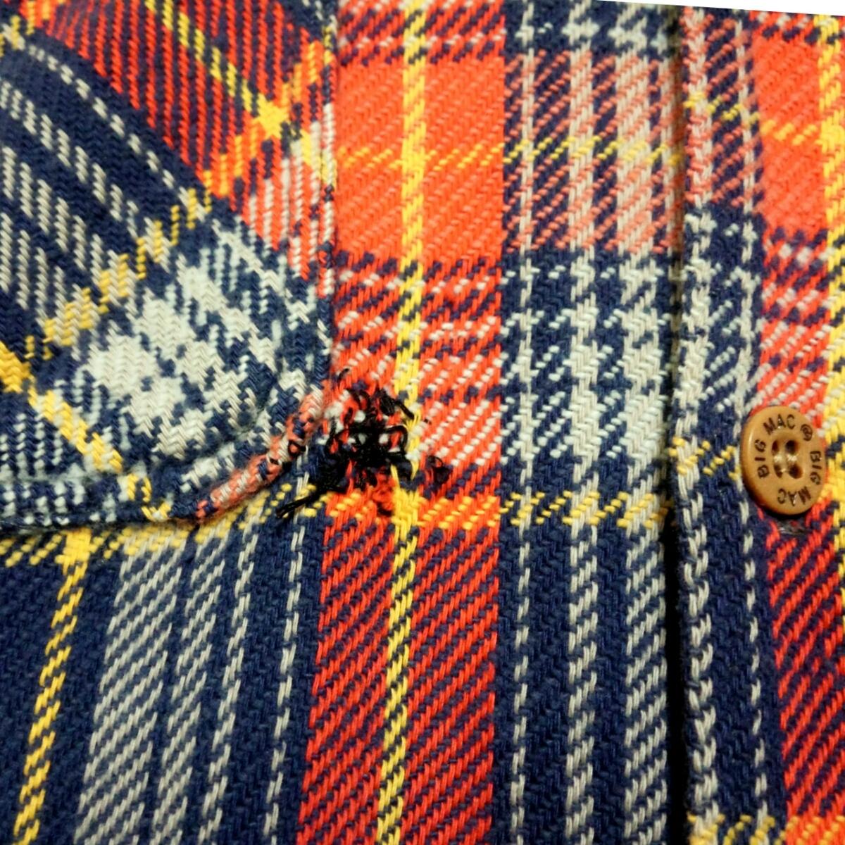 サイズSビッグマックMade in USA製 BIGMACヘビーネルシャツ80sヴィンテージ80年代JCPenneyアメリカ製vintageビンテージJCペニー 赤チェック_画像3