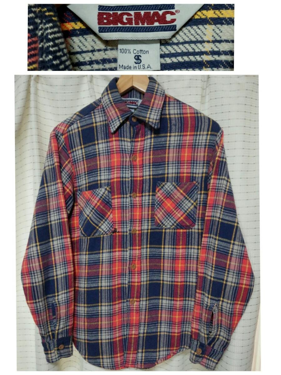 サイズSビッグマックMade in USA製 BIGMACヘビーネルシャツ80sヴィンテージ80年代JCPenneyアメリカ製vintageビンテージJCペニー 赤チェック_画像1