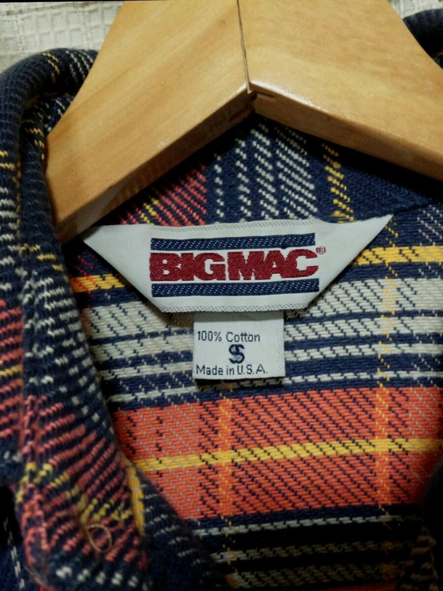 サイズSビッグマックMade in USA製 BIGMACヘビーネルシャツ80sヴィンテージ80年代JCPenneyアメリカ製vintageビンテージJCペニー 赤チェック_画像4