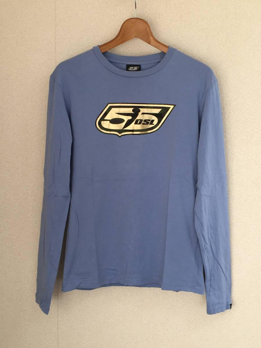 DIESEL/ディーゼル 55DSL 長袖 Tシャツ Mサイズ スカイブルー メンズ 迷彩ロゴ_画像1