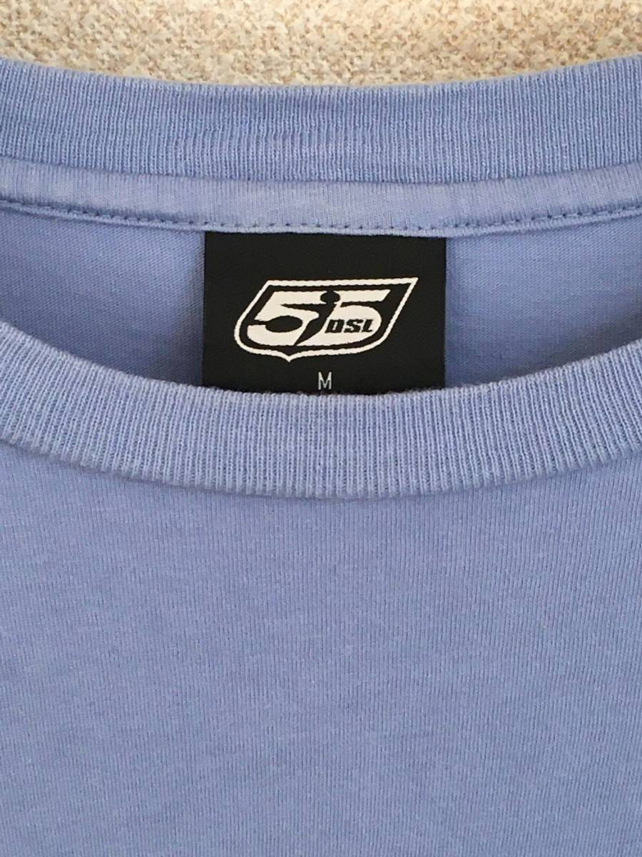 DIESEL/ディーゼル 55DSL 長袖 Tシャツ Mサイズ スカイブルー メンズ 迷彩ロゴ_画像3