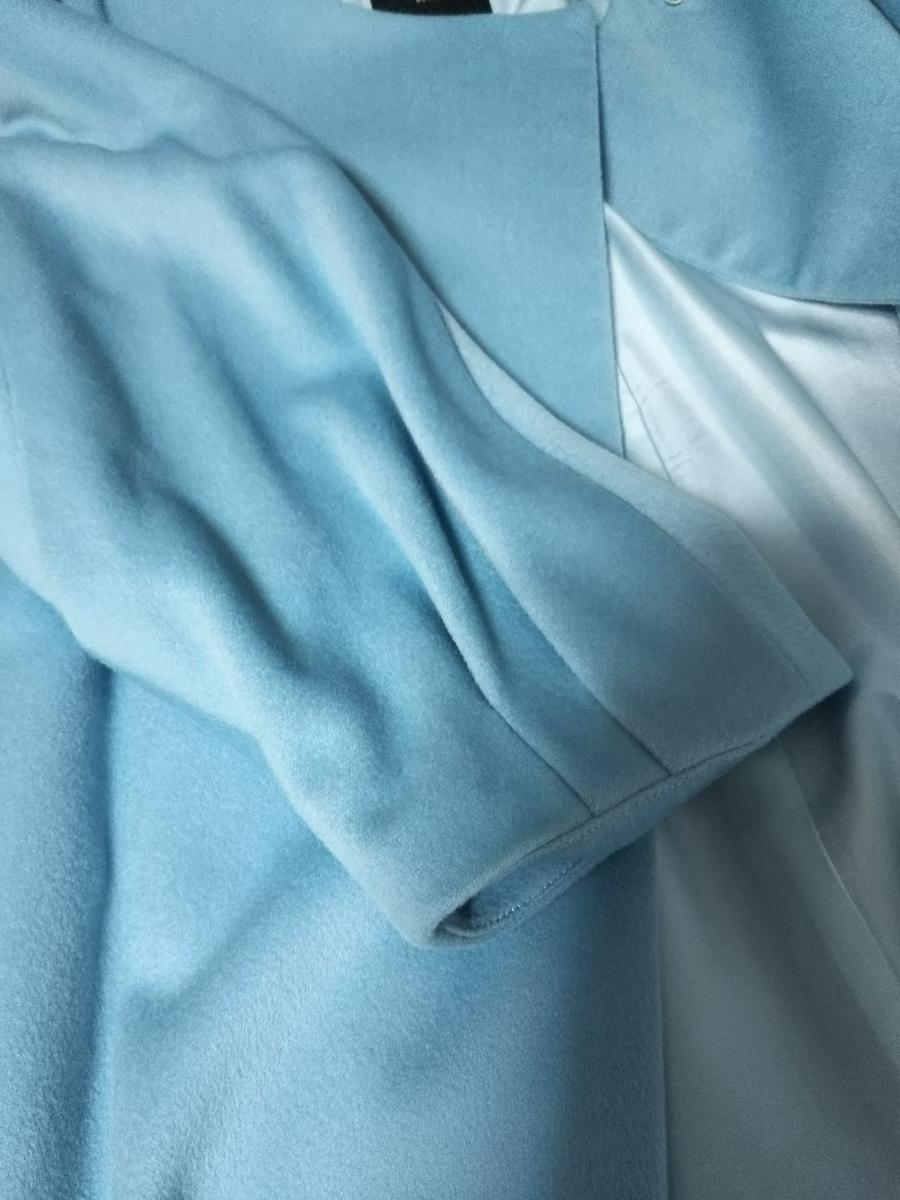 【美品】EFFE BEAMS エッフェビームス ノーカラーコート ブルー 36 カシミヤ混 ウール ロロピアーナ生地使用 裏地 シルク 七分袖 日本製_画像6