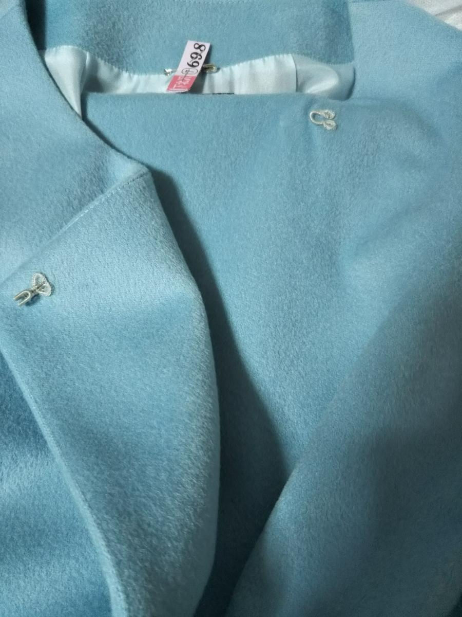 【美品】EFFE BEAMS エッフェビームス ノーカラーコート ブルー 36 カシミヤ混 ウール ロロピアーナ生地使用 裏地 シルク 七分袖 日本製_画像5