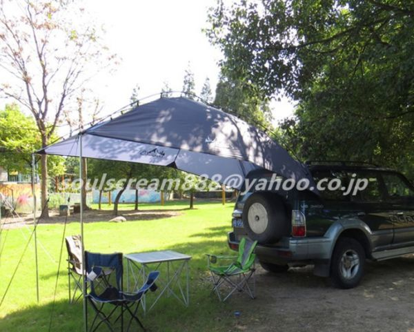 車用タープ テント 日よけテント 様々な車に対応 カーサイドタープ キャンプ テント 簡単設営 キャンプ 大空間 カーサイドテント UVカット_画像2