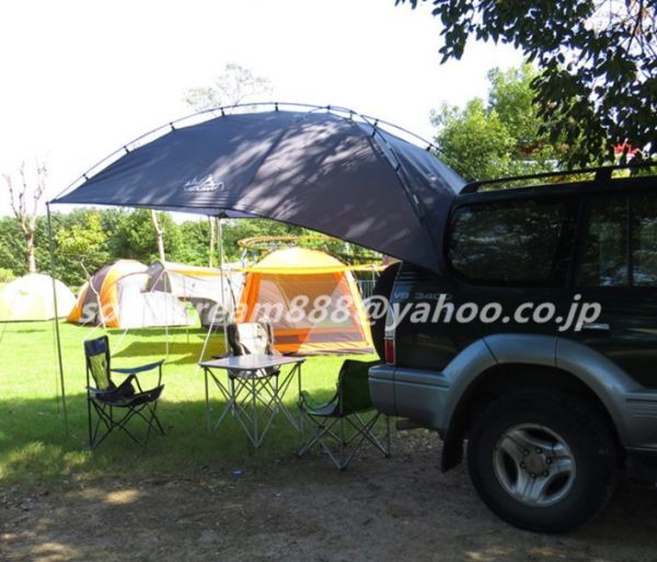 車用タープ テント 日よけテント 様々な車に対応 カーサイドタープ キャンプ テント 簡単設営 キャンプ 大空間 カーサイドテント UVカット_画像3