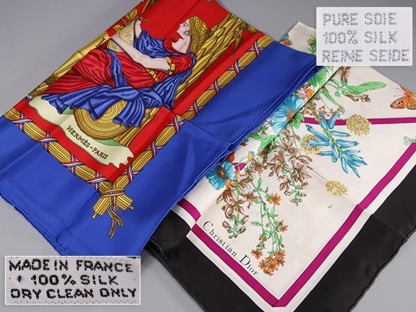 DB743. HERMES エルメス カレ 1789 フランス革命・Christian Dior クリスチャンディオール 花蝶柄 スカーフ2枚 / ブランドハンカチシルク