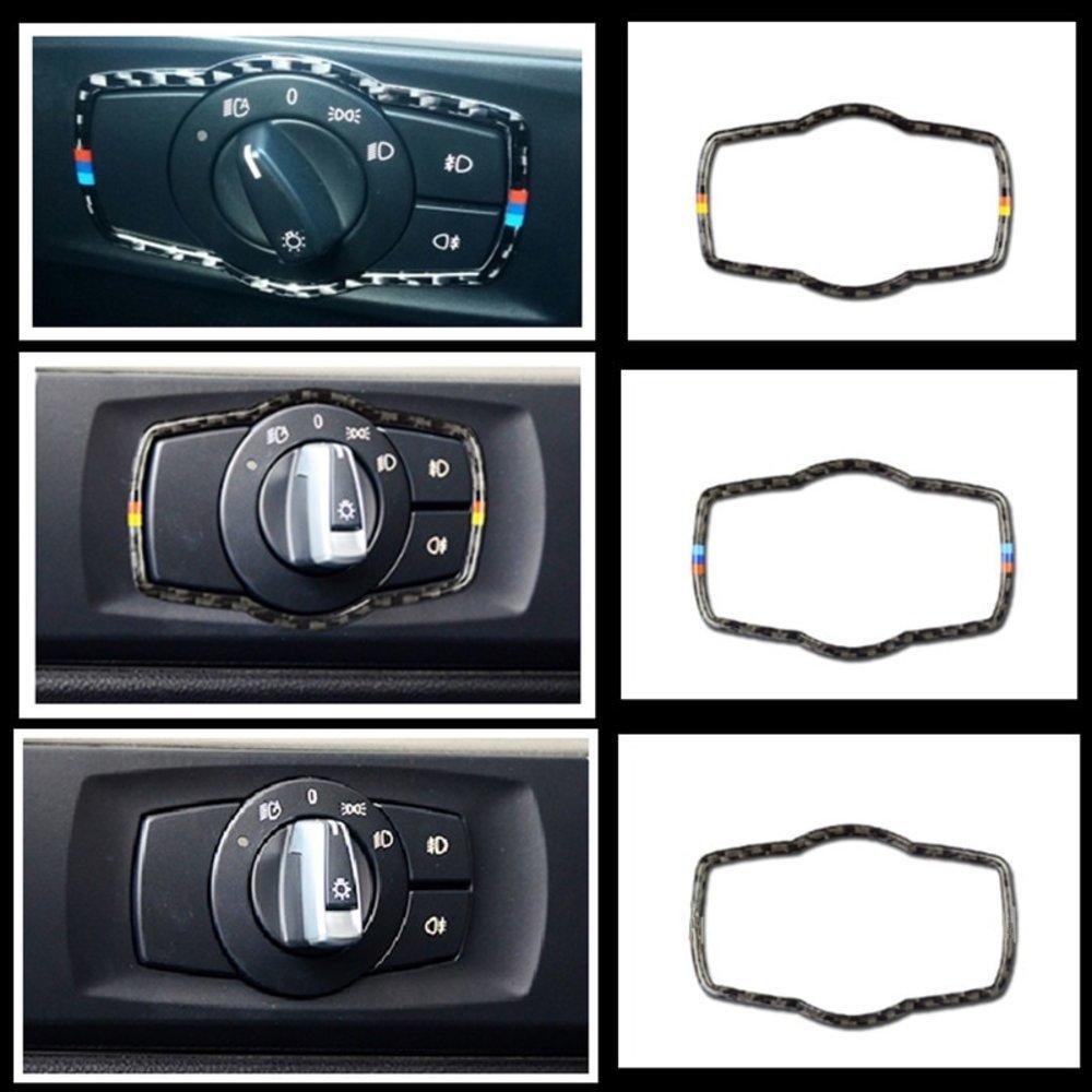 車 外装 For bmw E90 E92 Carbon Fiber Car Headlamp Switch Trim Refit Sticker Switch Frame Dec 送料無料_画像1