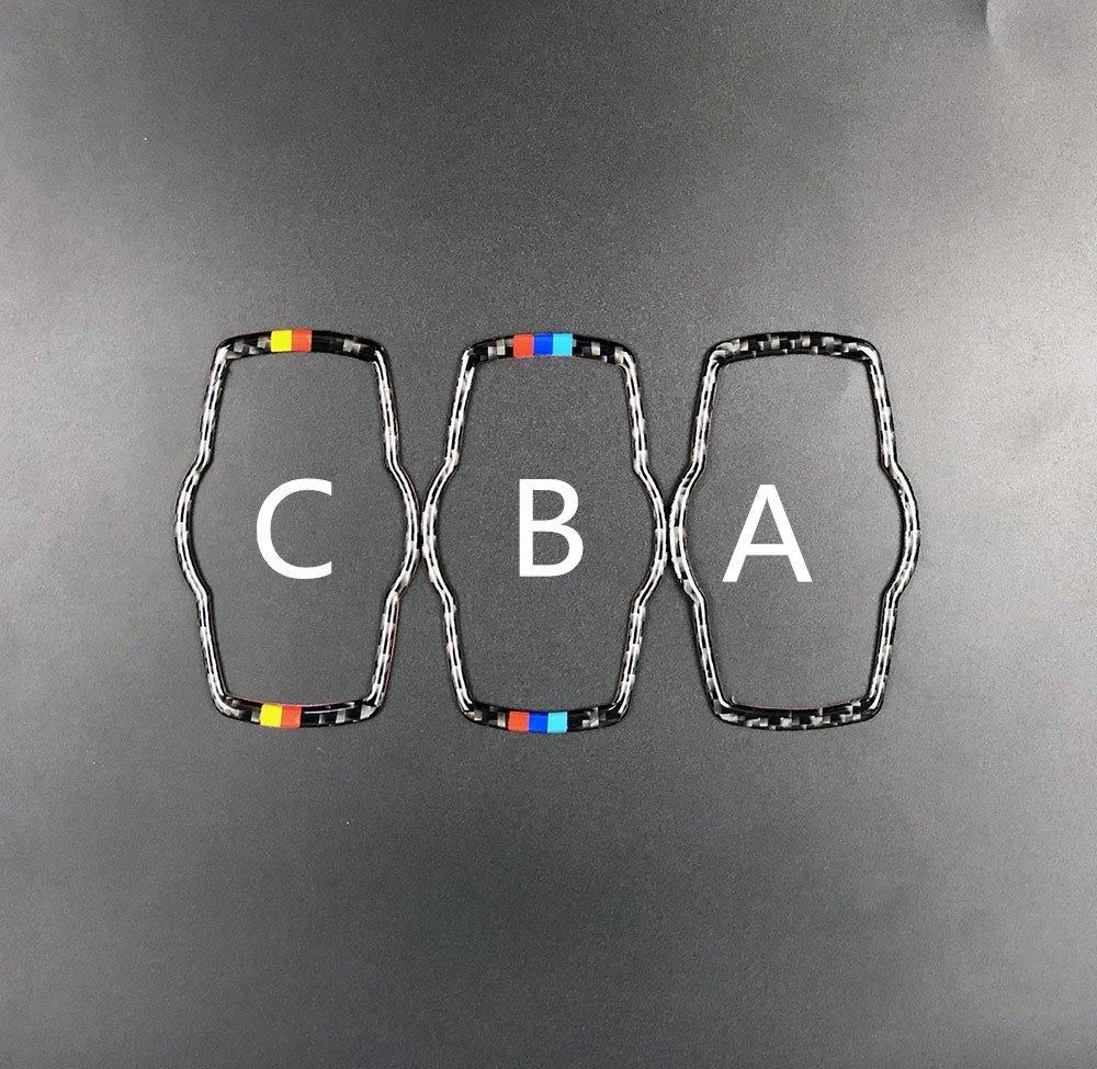 車 外装 For bmw E90 E92 Carbon Fiber Car Headlamp Switch Trim Refit Sticker Switch Frame Dec 送料無料_画像4