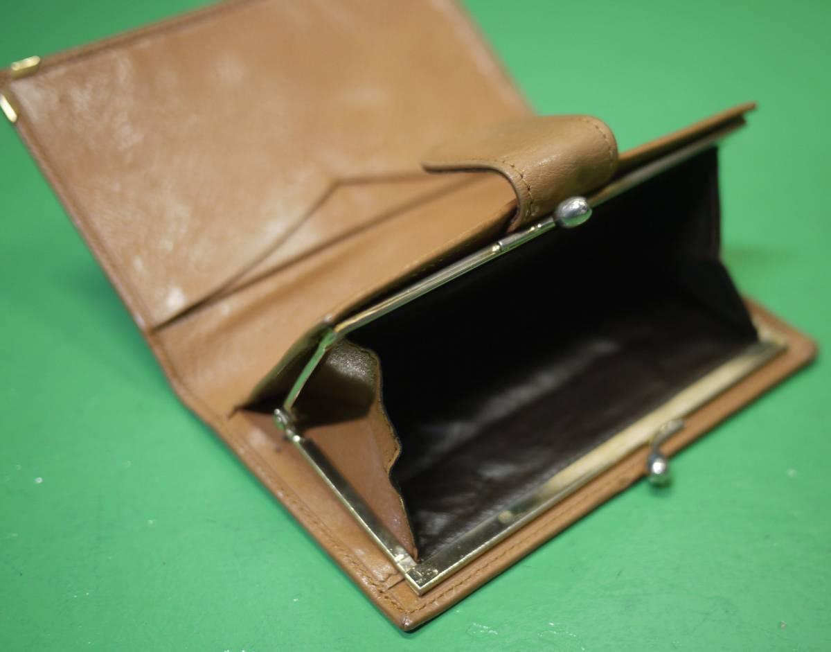 イタリア製 イサンティ i Santi 二つ折り財布 がま口 収納多数_画像7