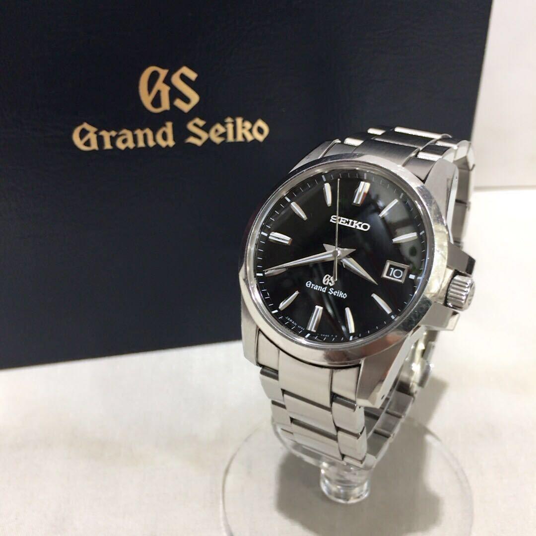【SEIKO】グランドセイコー GRAND SEIKO GS クォーツ腕時計 SBGX055 9F62-0AA1 黒文字盤 シルバー ブラック 年差クォーツ ts1011_画像1