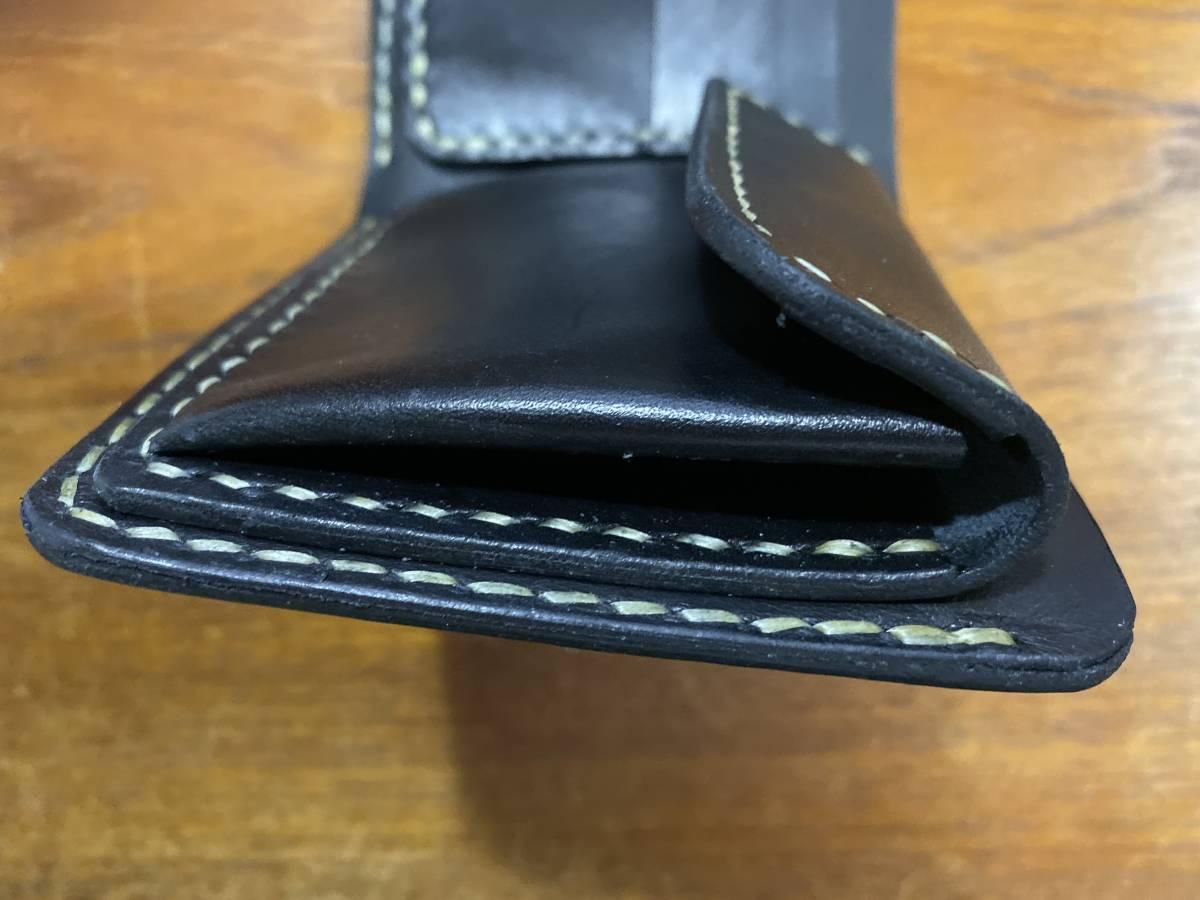 ハンドメイド ヌメ革 二つ折り財布 手縫い_画像10