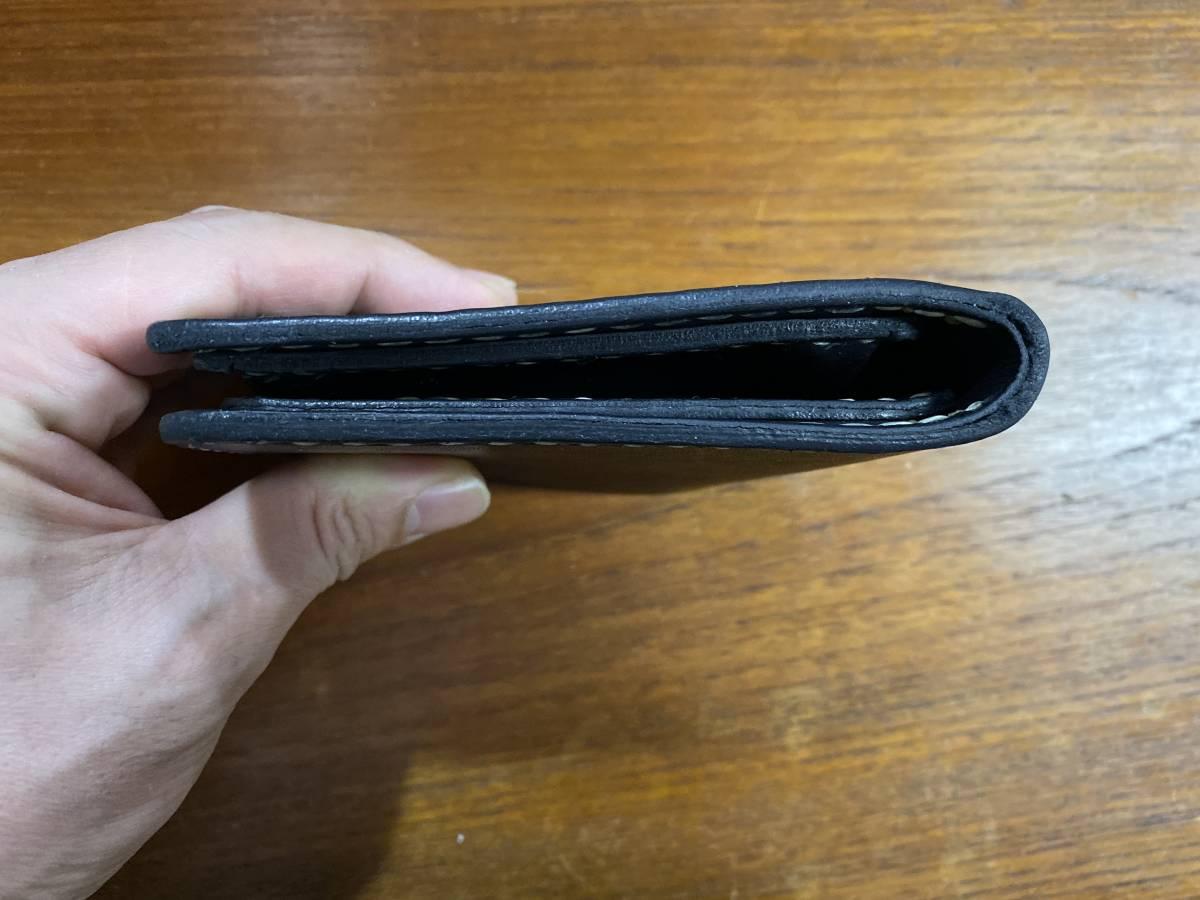 ハンドメイド ヌメ革 二つ折り財布 手縫い_画像8