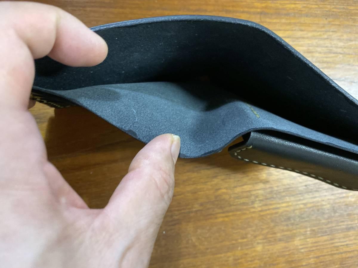 ハンドメイド ヌメ革 二つ折り財布 手縫い_画像7