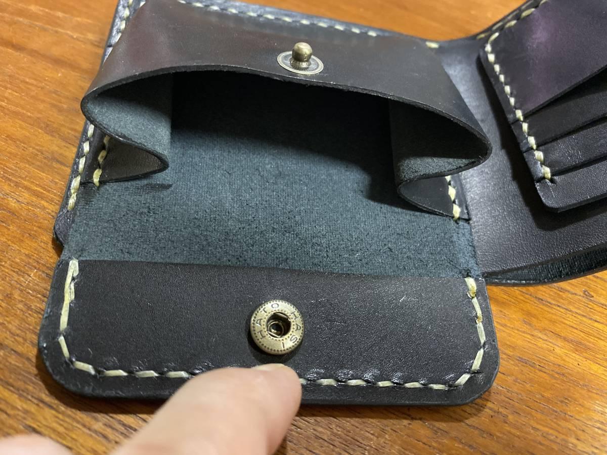 ハンドメイド ヌメ革 二つ折り財布 手縫い_画像6