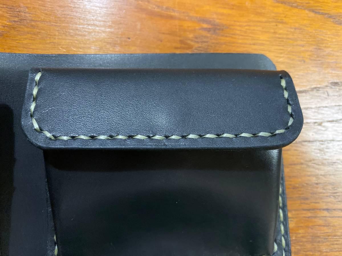 ハンドメイド ヌメ革 二つ折り財布 手縫い_画像5