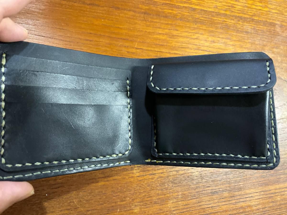 ハンドメイド ヌメ革 二つ折り財布 手縫い_画像2