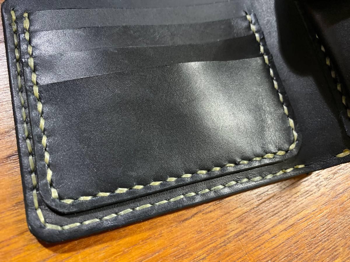 ハンドメイド ヌメ革 二つ折り財布 手縫い_画像3