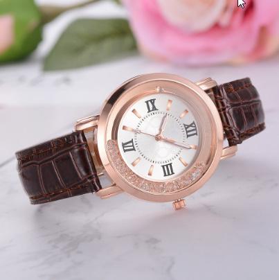 箔押し腕時計 ラインストーンレザーブレスレット腕時計 女性ファッションウォッチレディース合金アナログクォーツ k-550_画像2