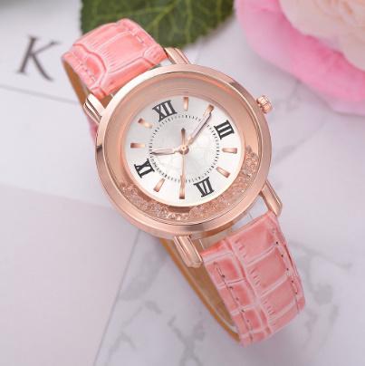 箔押し腕時計 ラインストーンレザーブレスレット腕時計 女性ファッションウォッチレディース合金アナログクォーツ k-550_画像3