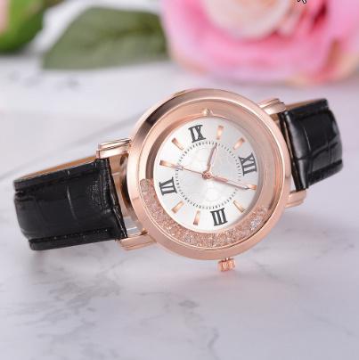 箔押し腕時計 ラインストーンレザーブレスレット腕時計 女性ファッションウォッチレディース合金アナログクォーツ k-550_画像4