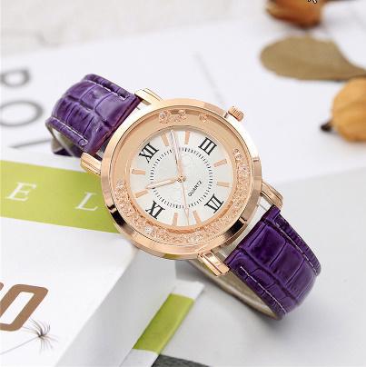 箔押し腕時計 ラインストーンレザーブレスレット腕時計 女性ファッションウォッチレディース合金アナログクォーツ k-550_画像5
