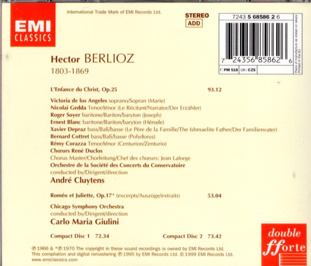 2CD (即決) ベルリオーズ/「キリストの幼時」「ロメオとジュリエット選」/ アンドレ・クリュイタンス指揮他_画像2