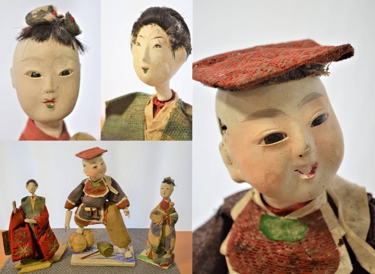 時代 和人形 大黒様 姫人形 3体 玉眼 部品 日本人形 検 江戸期 明治 大正 市松人形 レ?#21435;?御所人形 木目込人形 ?#38271;堡?ドール ひな人形 雛