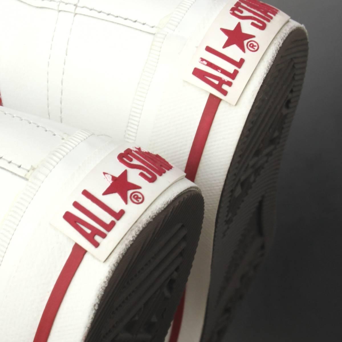 【SALE】極上美品CONVERSEワンスターJ白赤MADE IN JAPAN US8.5 (26.5-27cm) (日本製コンバース ホワイト レッドOXレザー1円スタートyk98057_画像5