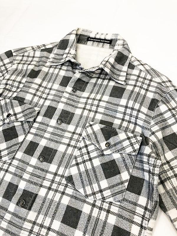 バックボーン ベーシック BACK BONE THE BASIC ネルシャツ S ホワイト ブラック 送料520円 チェック 白 黒 北原哲夫 _画像3