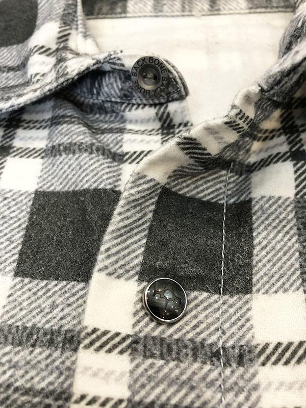 バックボーン ベーシック BACK BONE THE BASIC ネルシャツ S ホワイト ブラック 送料520円 チェック 白 黒 北原哲夫 _画像4