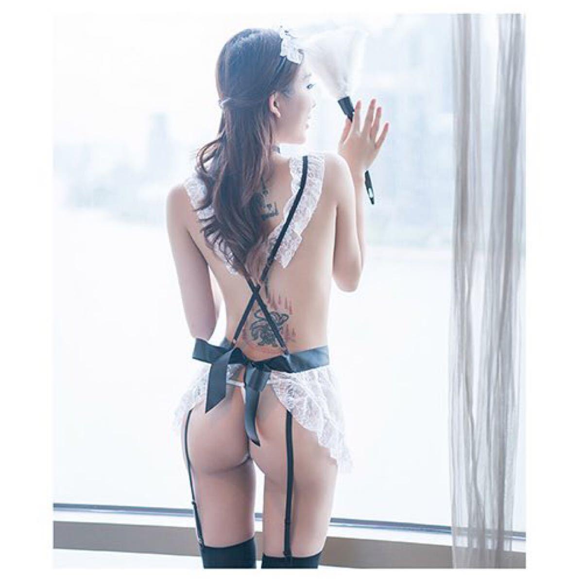 セクシーランジェリー メイド エプロン 透け ベビードール 制服 コスプレ